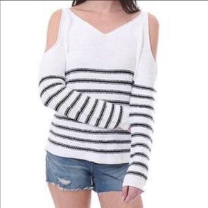 RD style blue stripped cold shoulder sweater